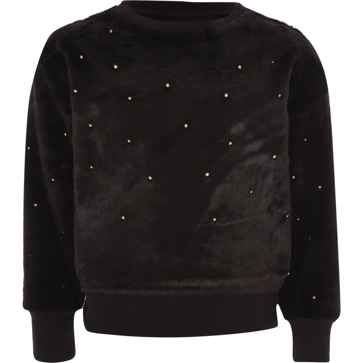 Girls black faux fur pearl embellished sweater