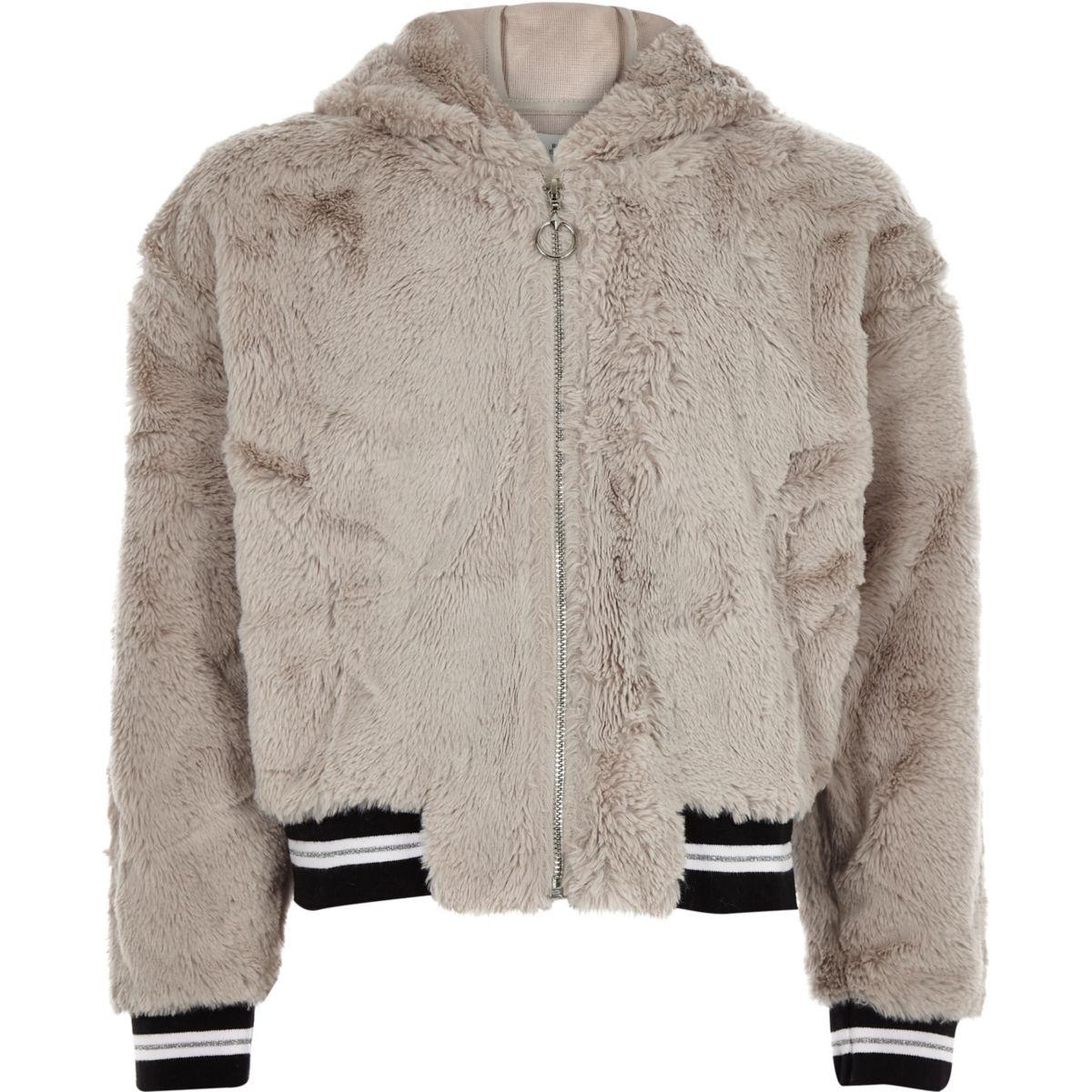 Girls grey faux fur tipped zip hoodie