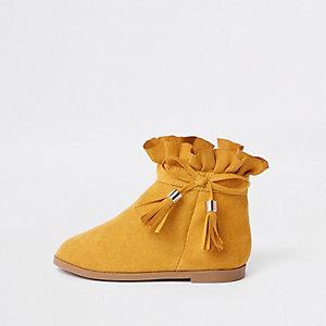Bottes jaunes à nœud mini fille