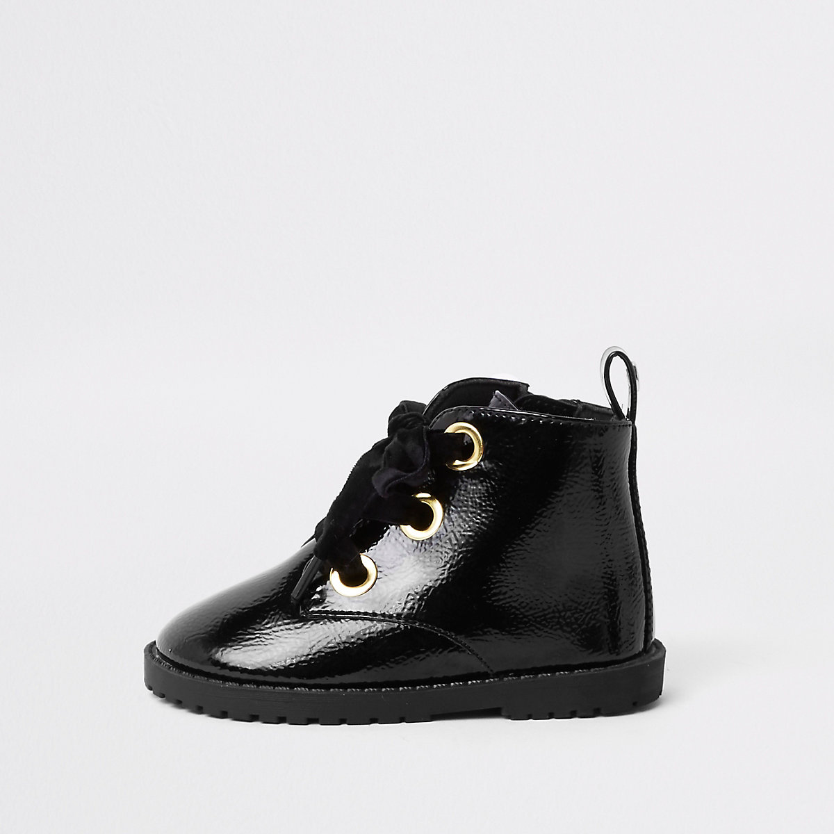 Mini girls black lace-up eyelet boots