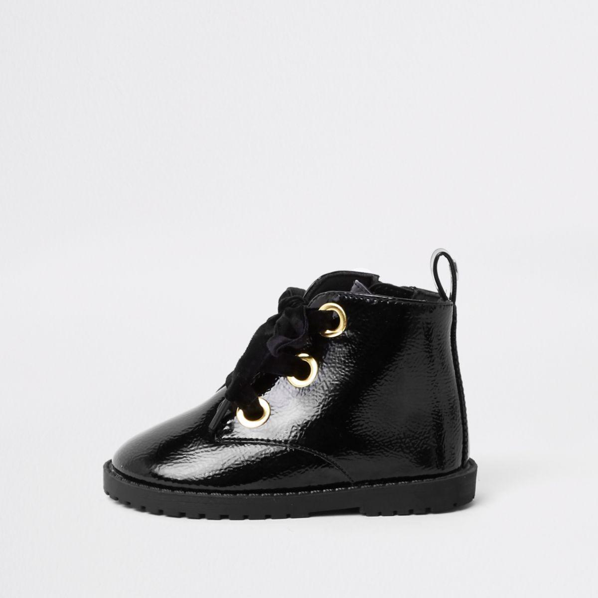Mini girls black lace-up eyelet boots