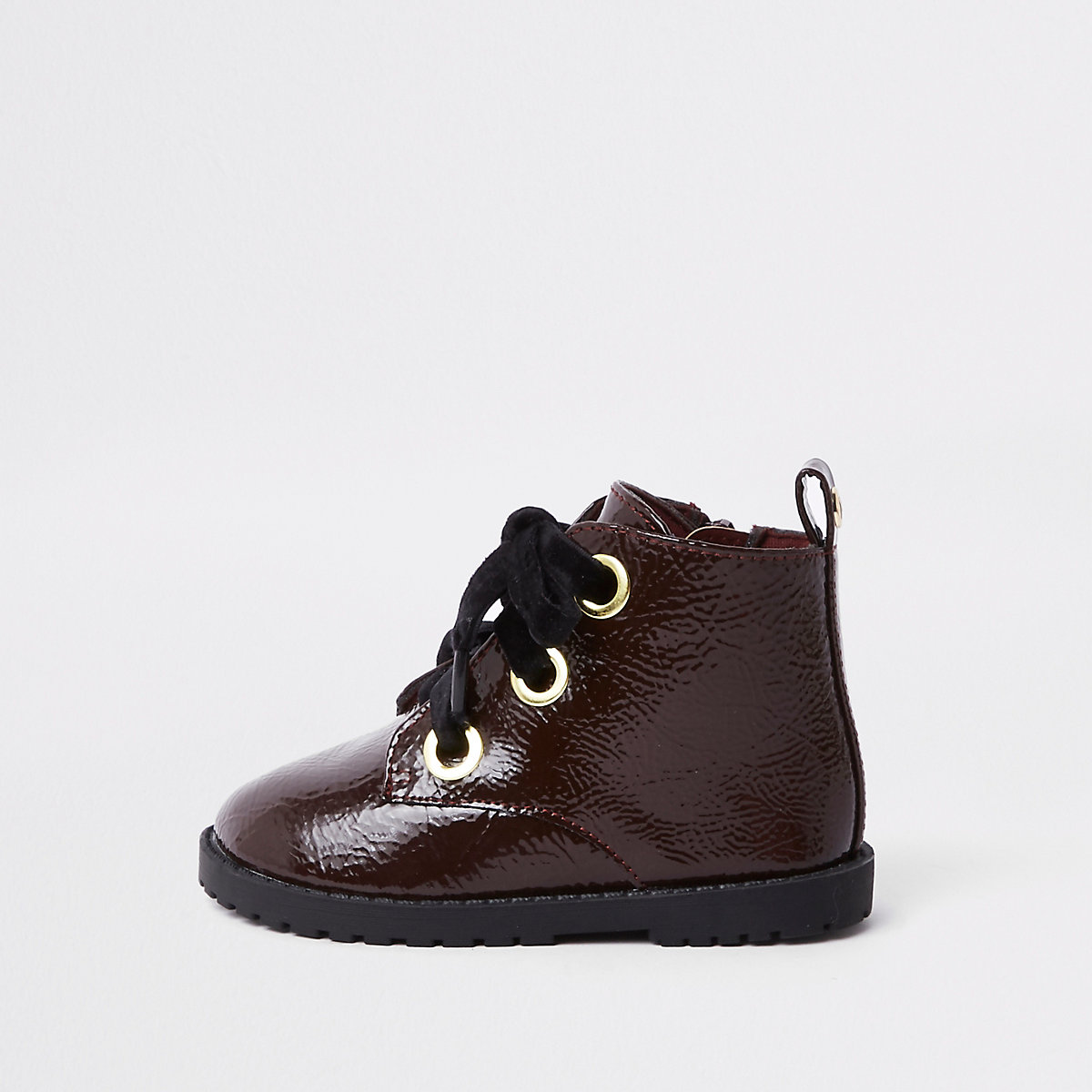 Mini girls dark red lace-up eyelet boots