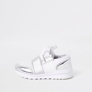 Mini girls white metallic runner sneakers