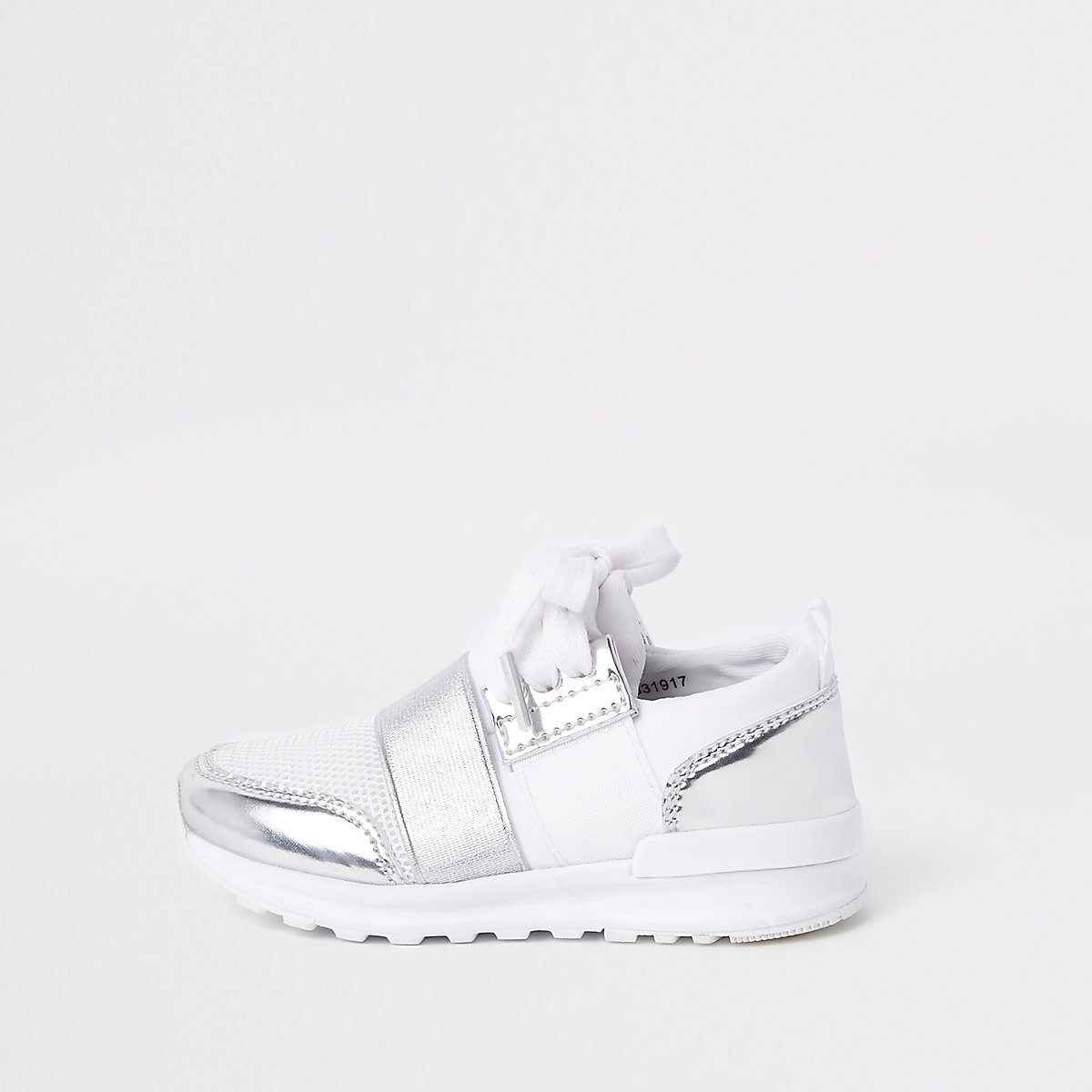Mini girls white metallic runner trainers