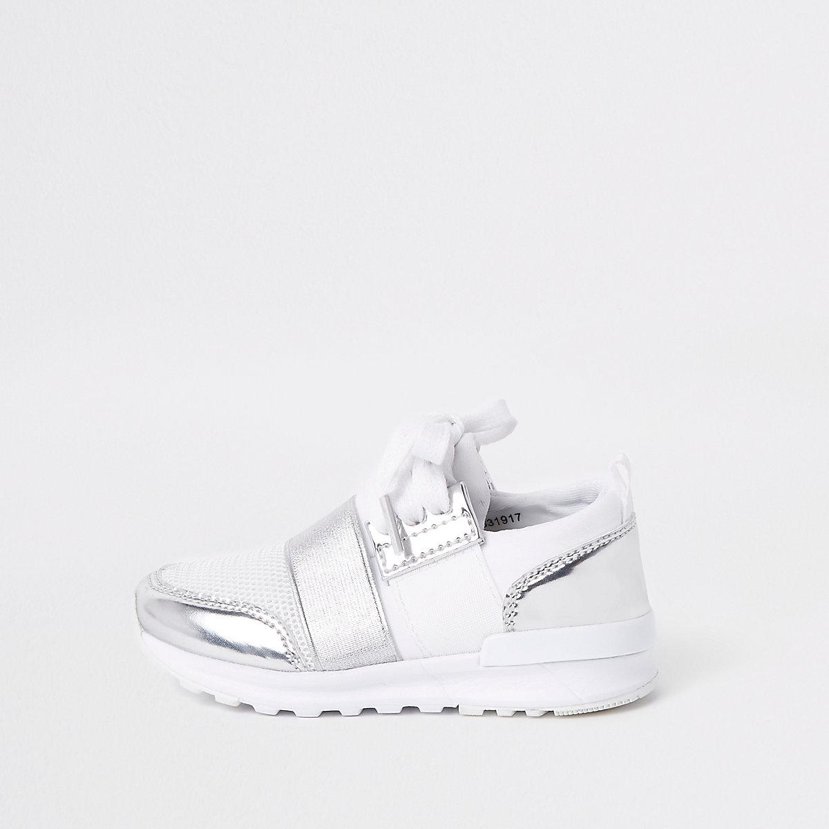 Mini girls white metallic runner sneakers