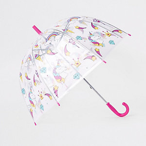 Girls unicorn print clear umbrella