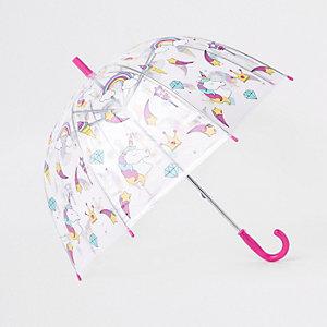 Parapluie imprimé licorne transparent pour fille
