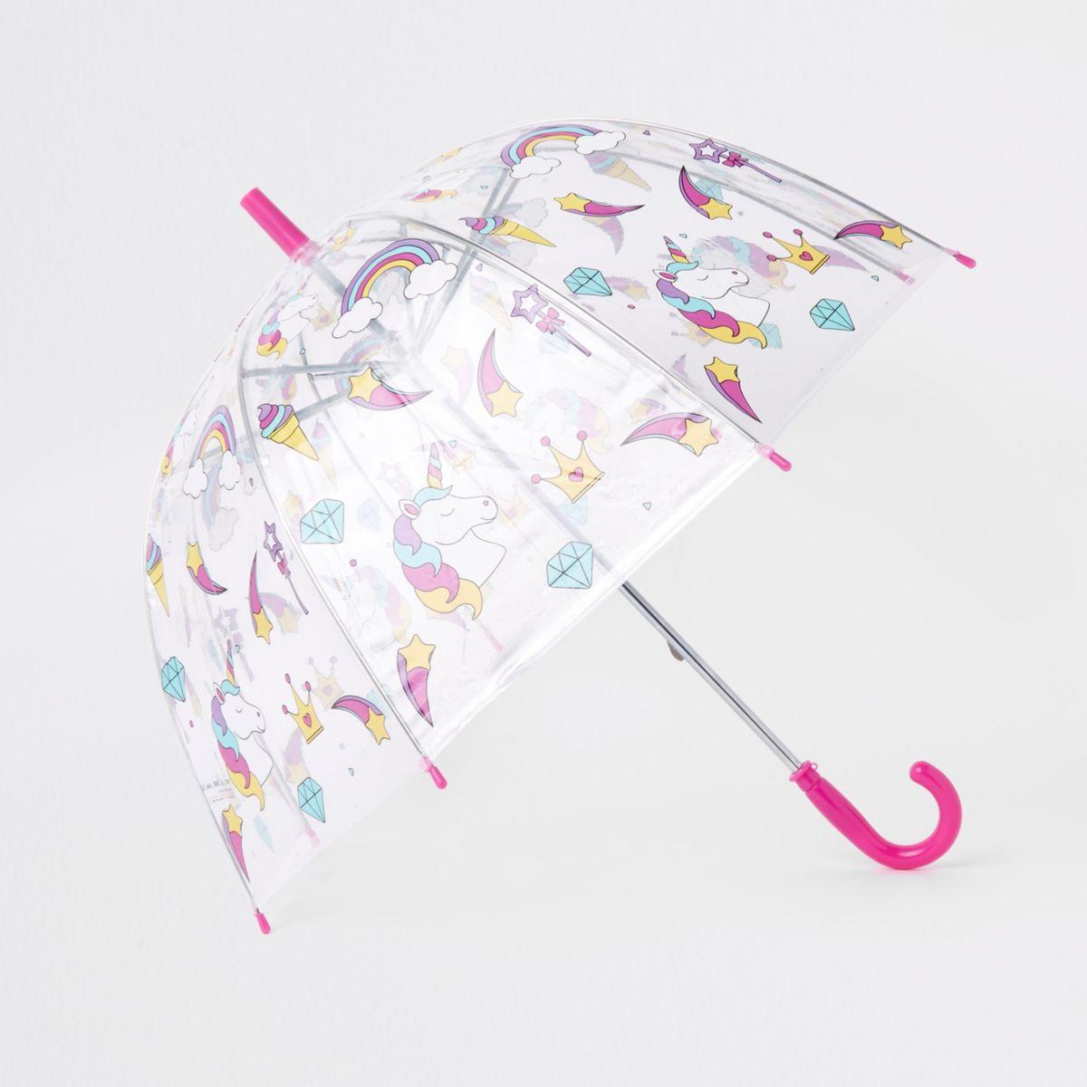 Girls unicorn print clear umbrella