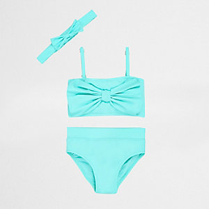 Tankini-Set in Aquamarin mit Schleife