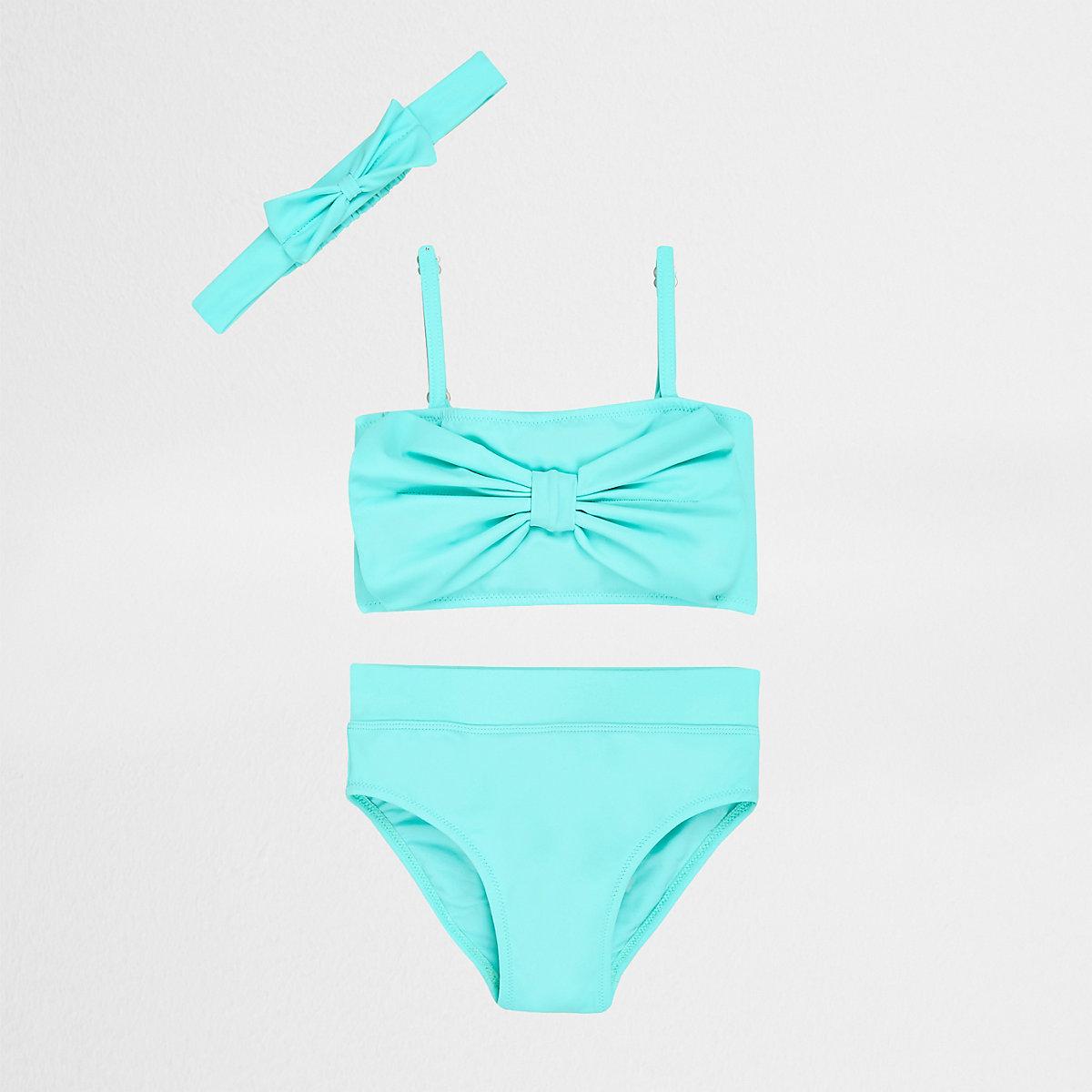 Mini girls aqua bow front tankini set