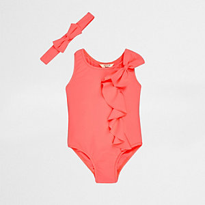 Mini girls coral frill swimsuit