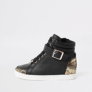 Girls black RI monogram high top trainers