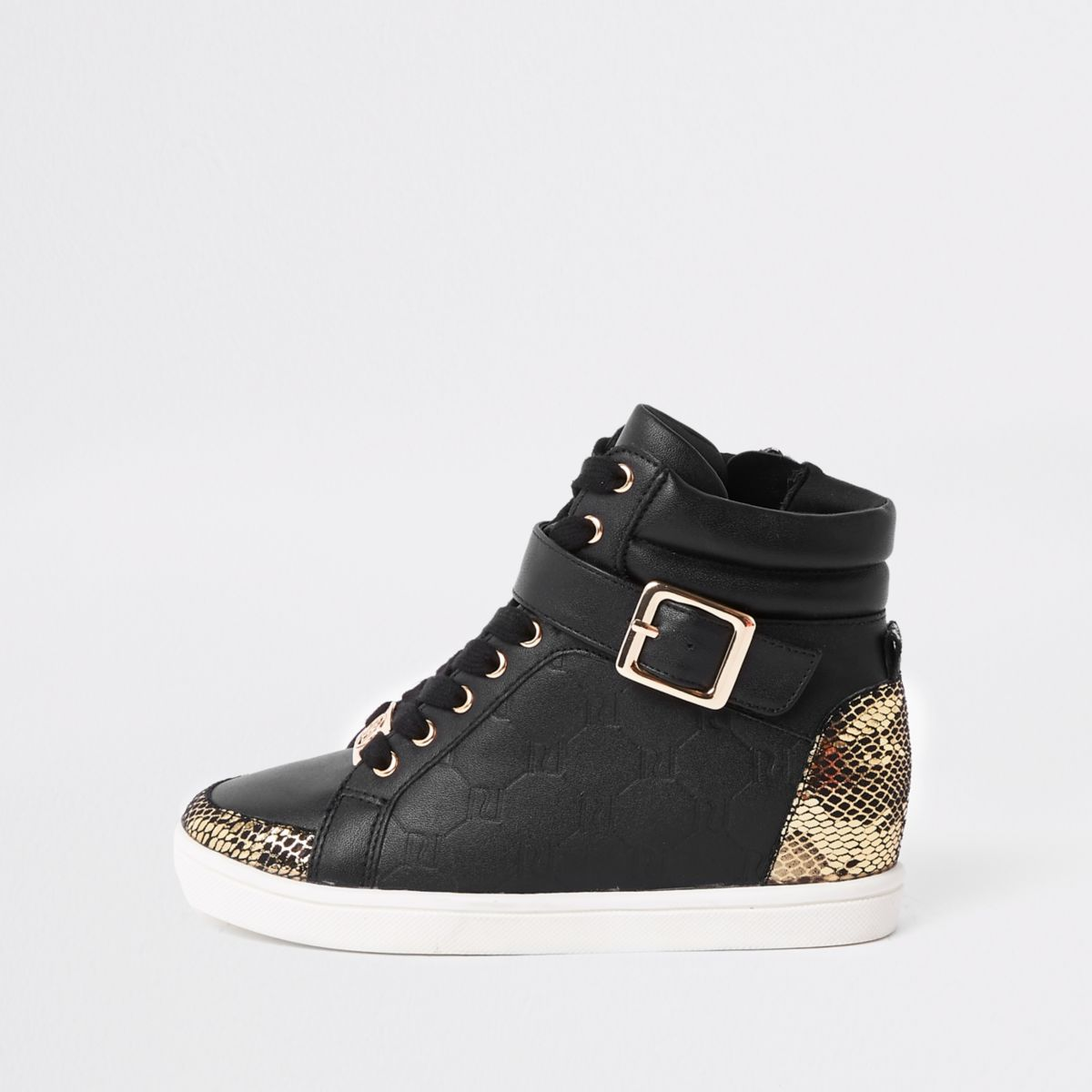 Girls black RI monogram high top sneakers