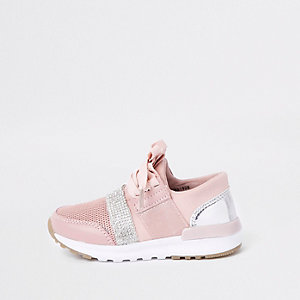 Mini girls pink gem strap runner trainers
