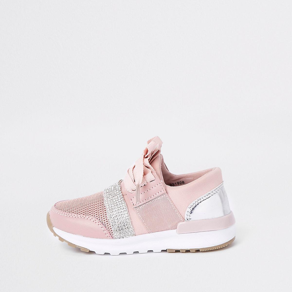 Mini girls pink gem strap runner sneakers