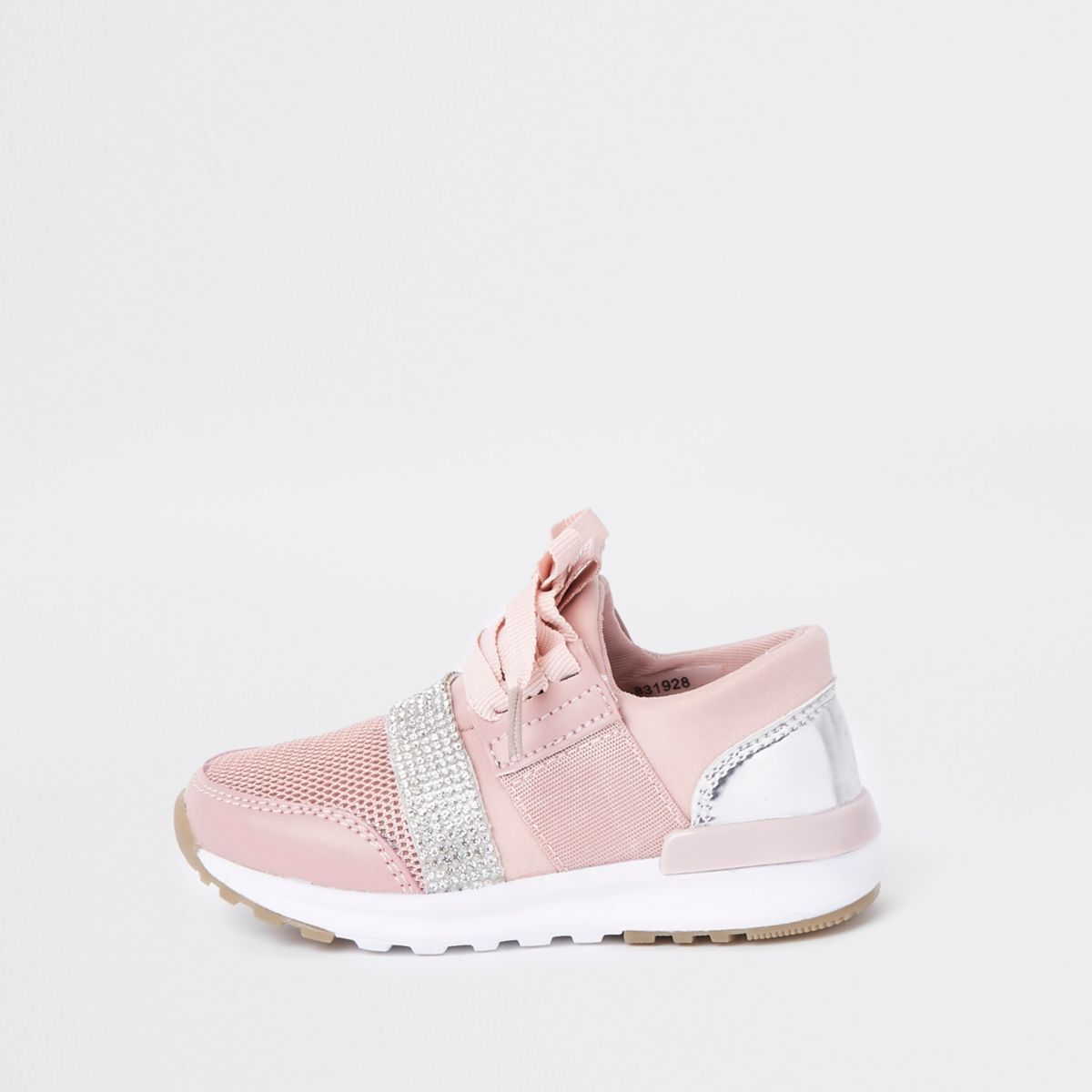 Mini girls pink gem strap runner sneakers