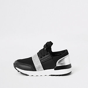 Mini girls black gem strap runner sneakers