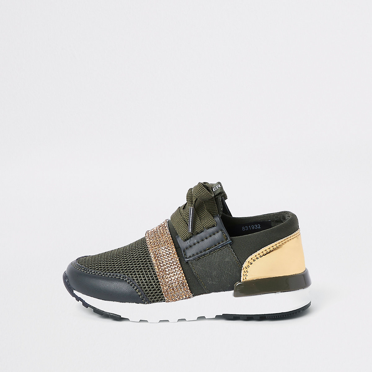 Mini khaki green gem strap runner sneakers