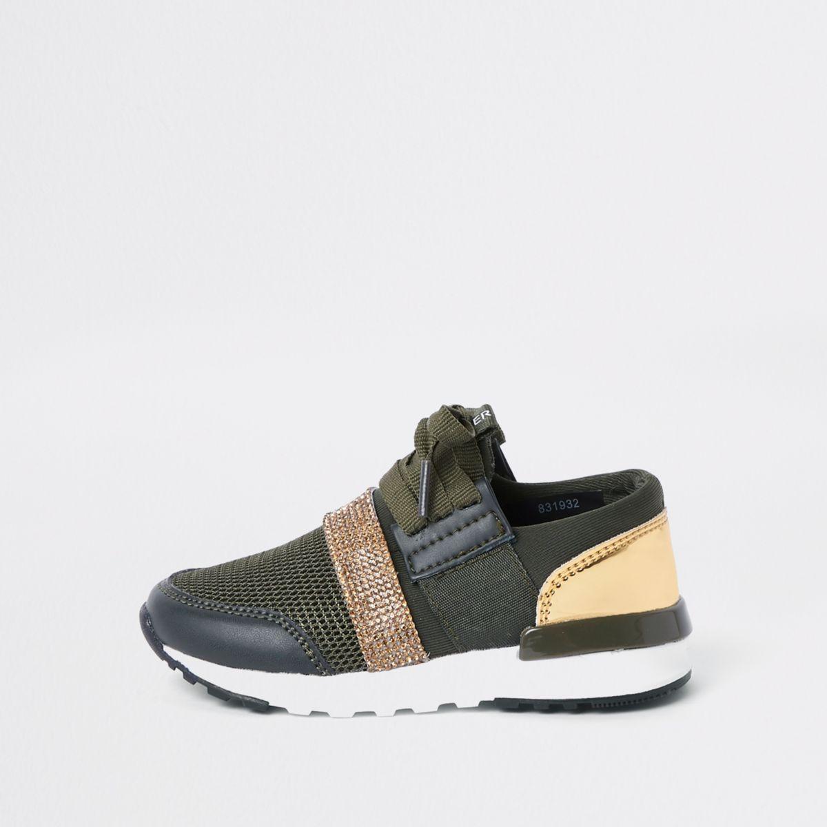 Mini khaki green gem strap runner sneakers
