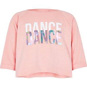 Girls light pink 'dance' crop sweatshirt