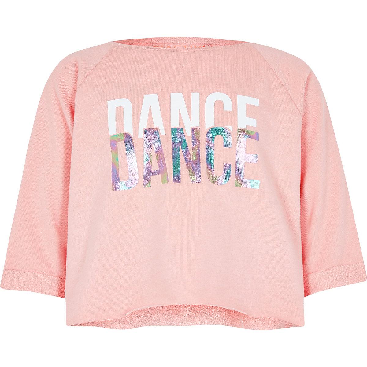 Girls RI Active pink 'dance' crop sweat top