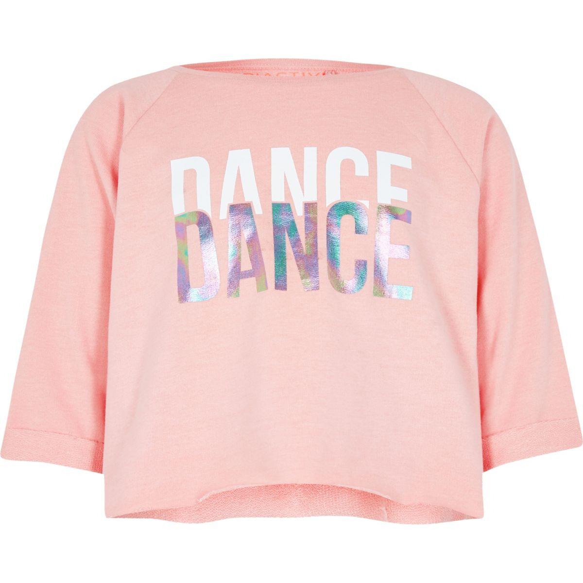 Girls light pink 'dance' crop sweatshirt