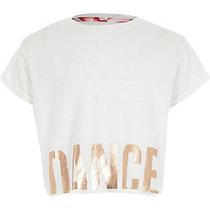 Girls RI Active white 'dance' crop T-shirt
