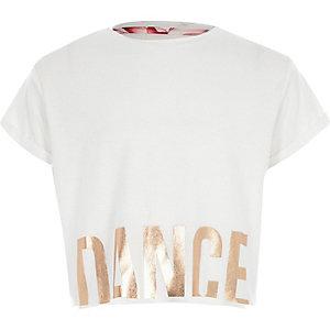 RI Active - Wit kort T-shirt met 'dance'-print voor meisjes