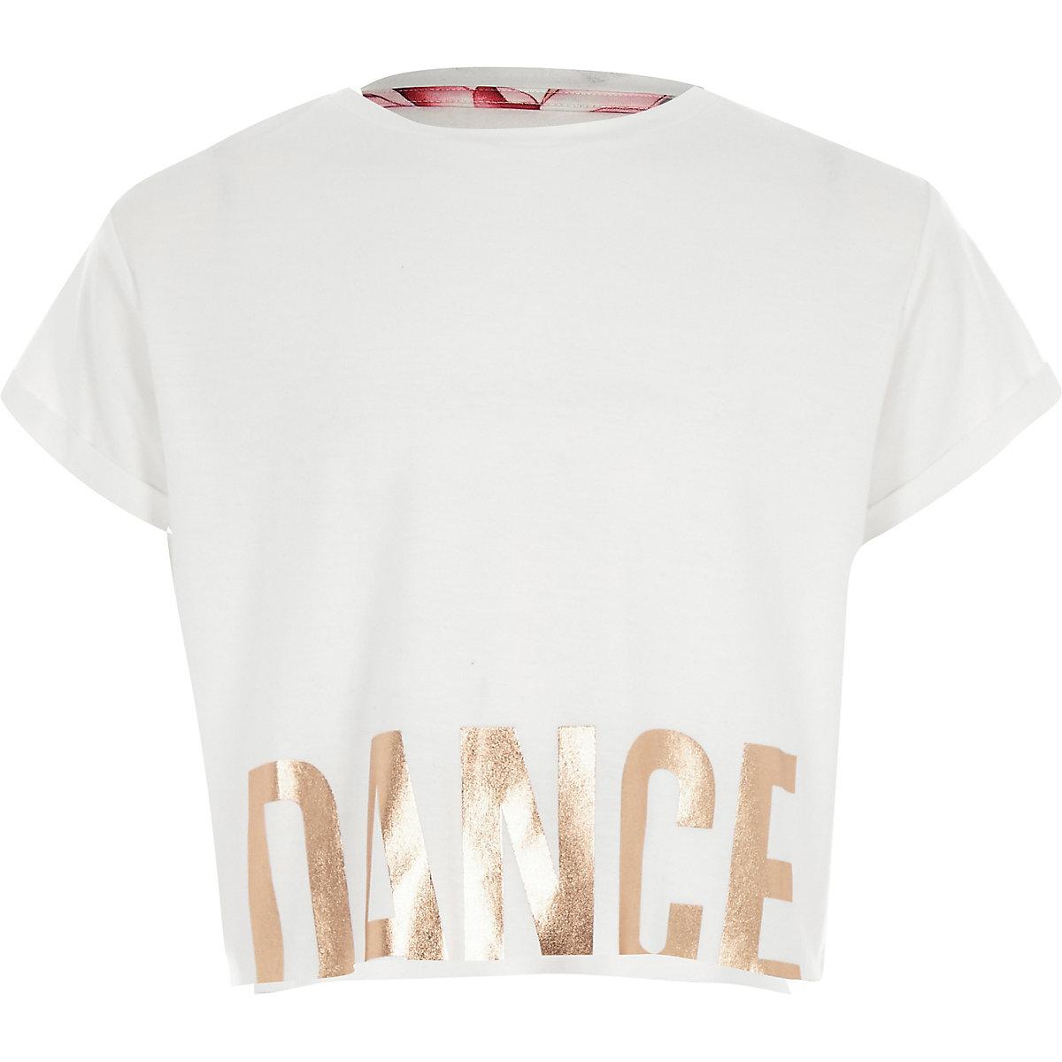 RI Active – T-shirt court « dance » blanc fille