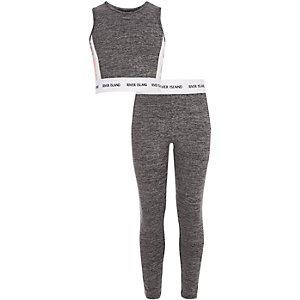 RI Active - Outfit met grijze crop top met bloemenprint voor meisjes