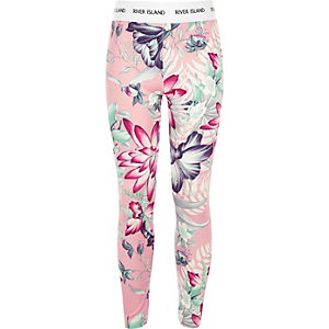 Girls RI Active pink floral leggings