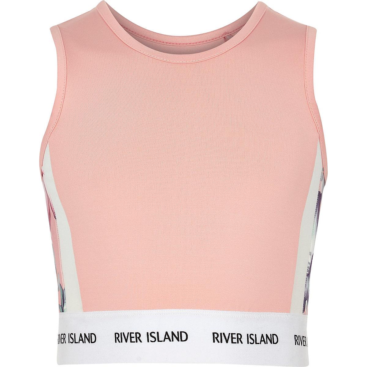Girls RI Active pink floral crop top
