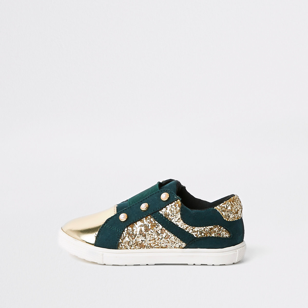 Mini girls green gold tone glitter plimsolls