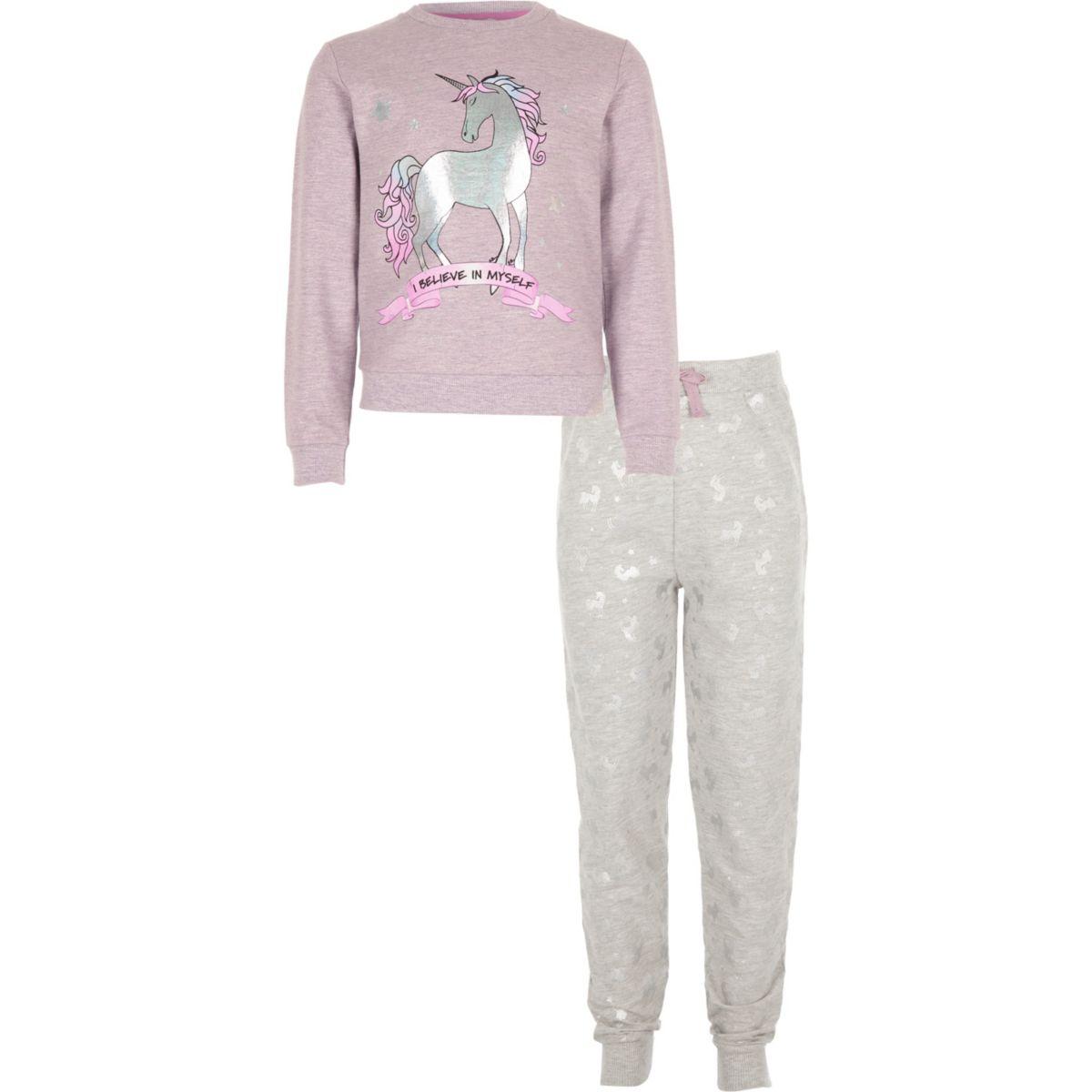 Girls purple 'I believe myself' pyjama set
