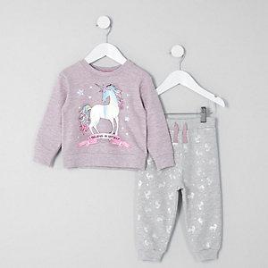Mini Paarse pyjamaset met 'I believe in myself'-print voor meisjes