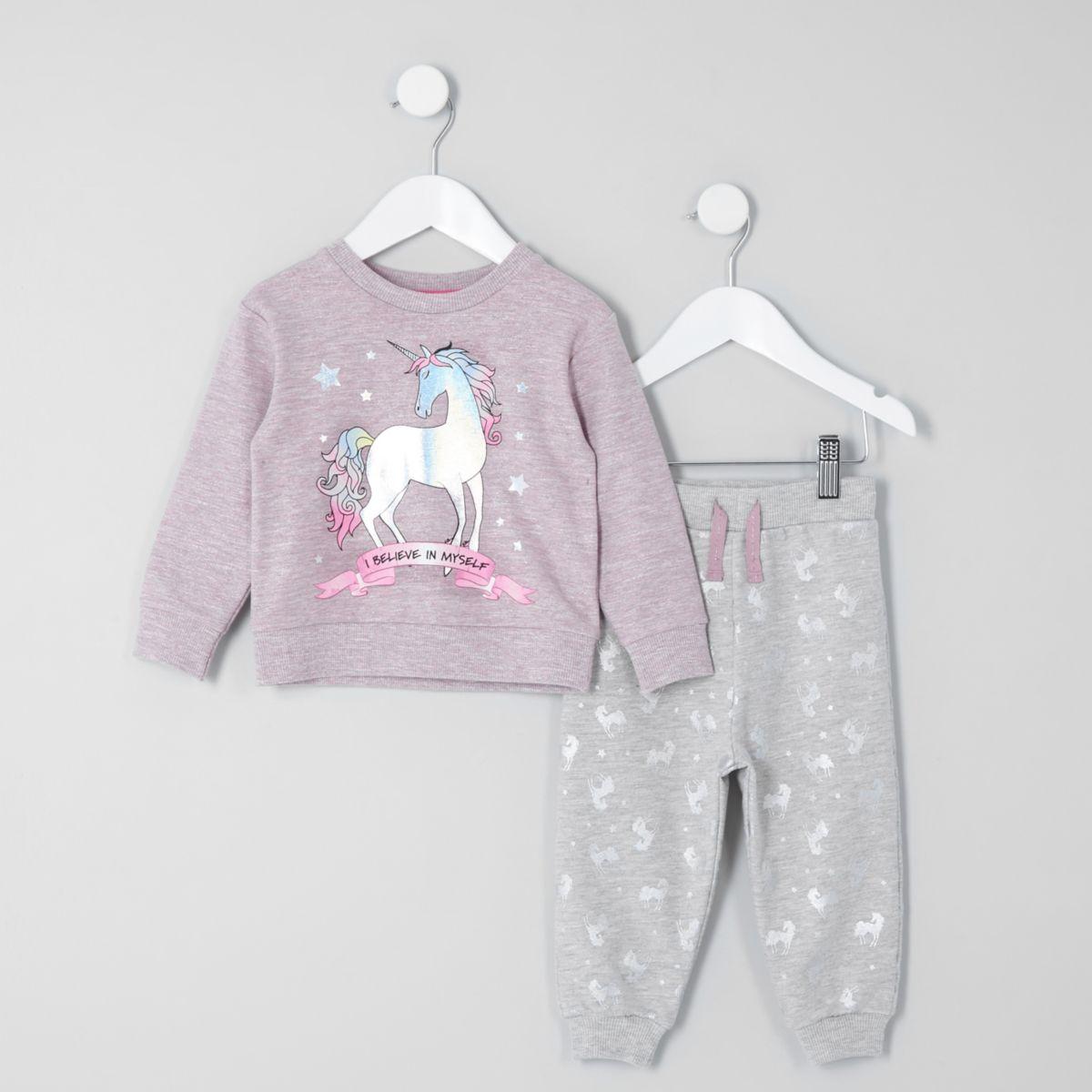 Mini girls purple 'I believe myself' pyjama s