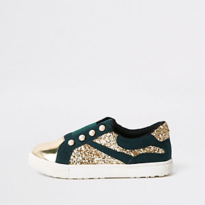 Girls green gold tone glitter plimsolls