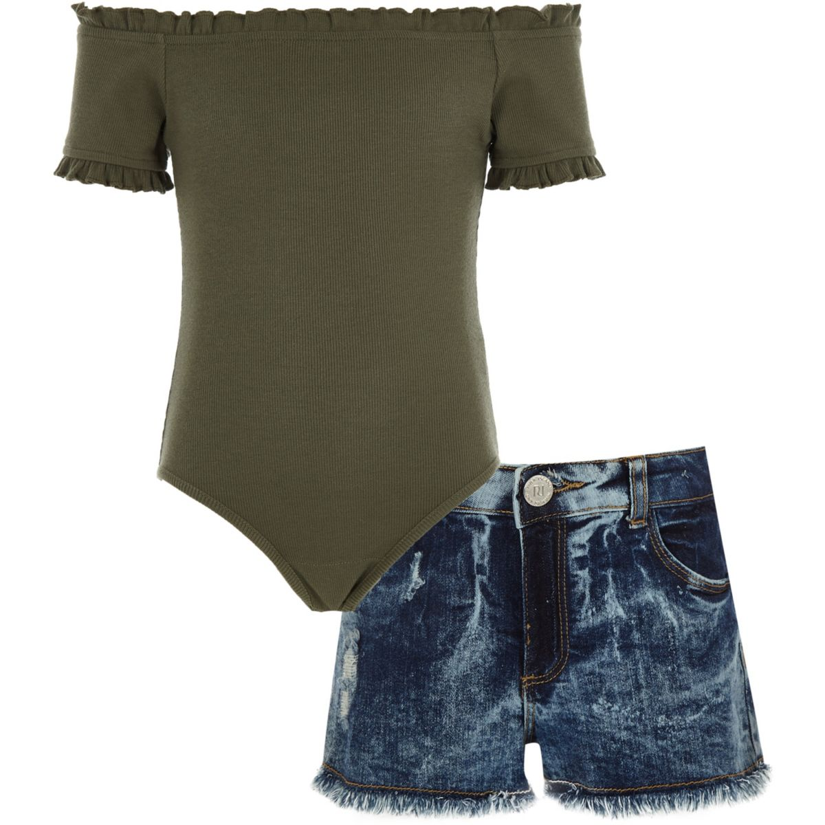 Girls khaki frill bodysuit and shorts outfit