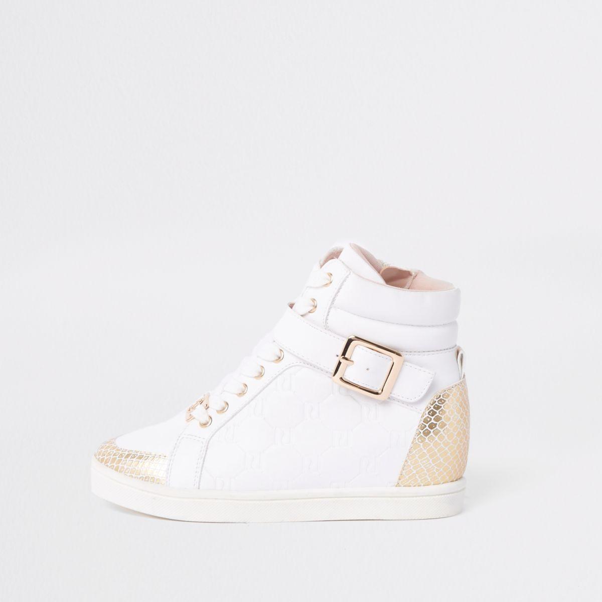 Girls white high top RI monogram sneakers