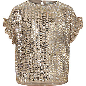 Girls gold sequin frill sleeve T-shirt