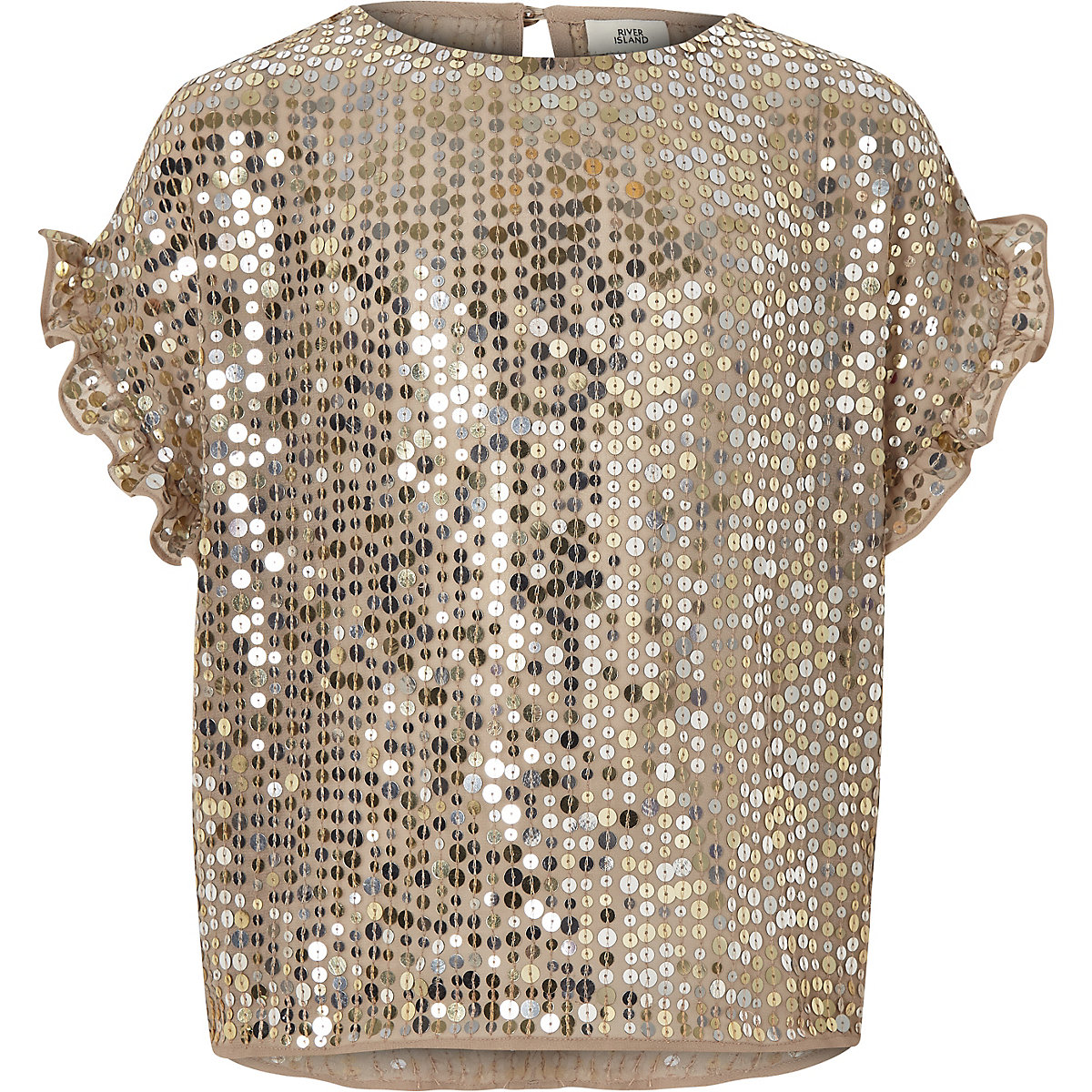 Girls gold sequin frill sleeve T-shirt