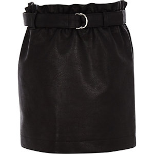 Girls black paperbag waist faux leather skirt