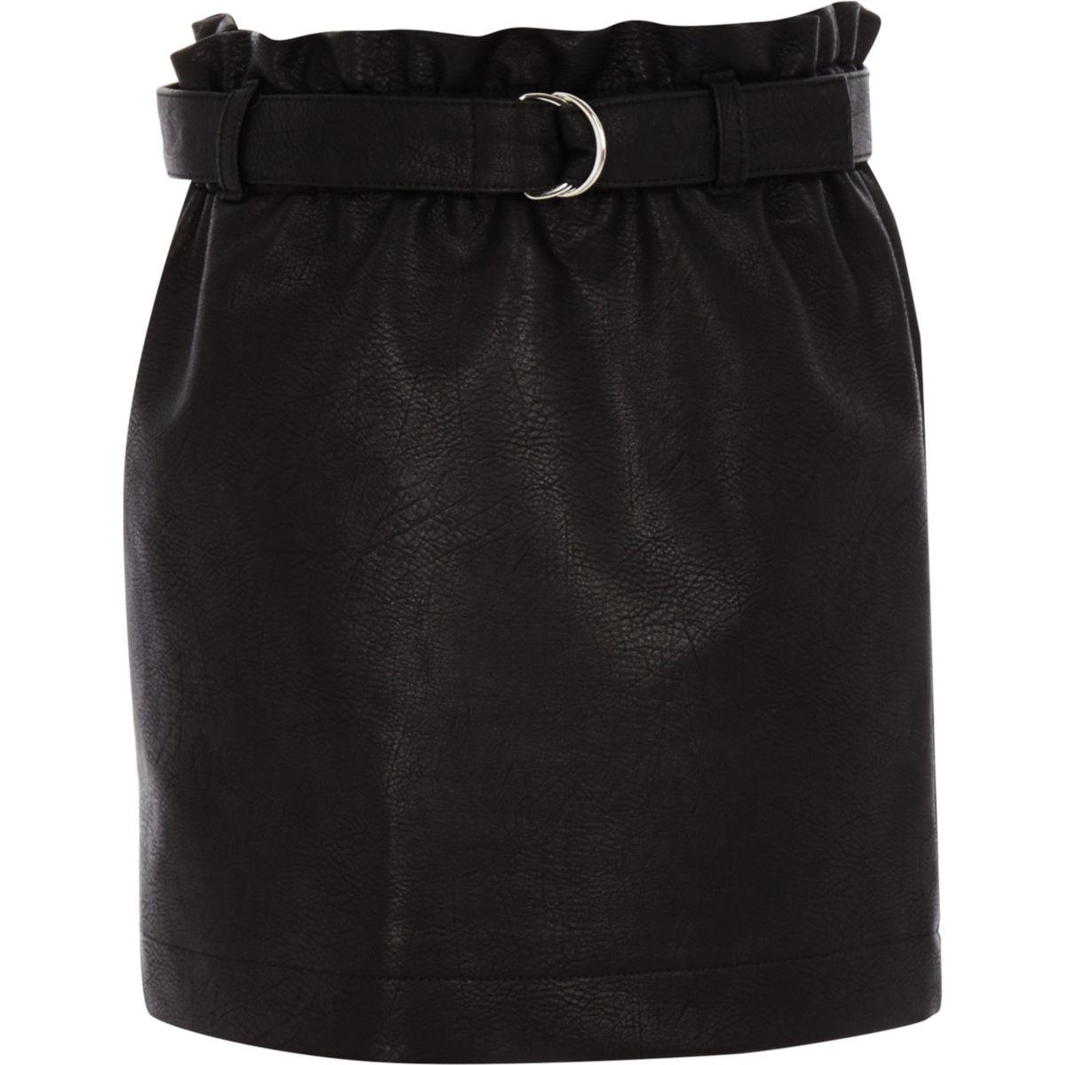 Girls black paperbag waist faux leather skirt