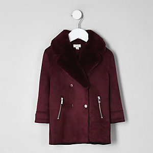 Mini girls burgundy faux fur suede coat