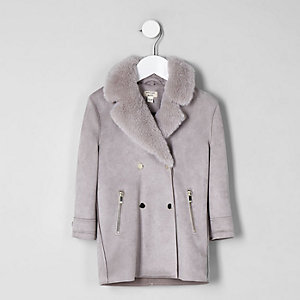 Mini girls light grey faux fur suede coat