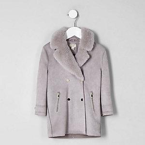 Manteau en suédine gris clair avec fausse fourrure mini fille