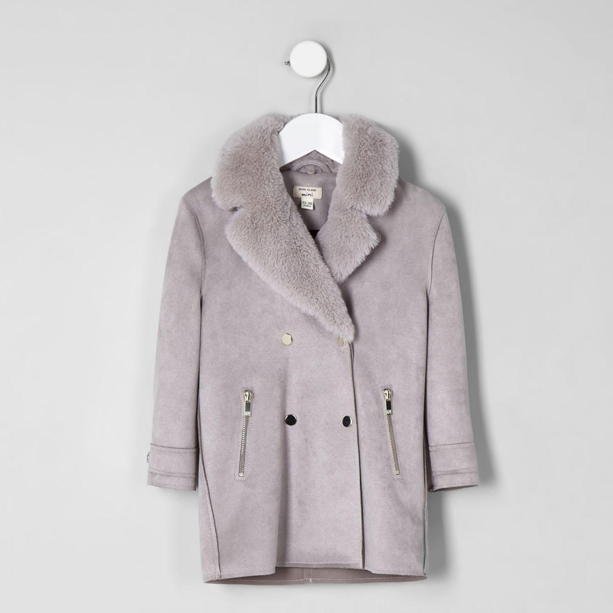 Mini girls light grey faux fur suede coat