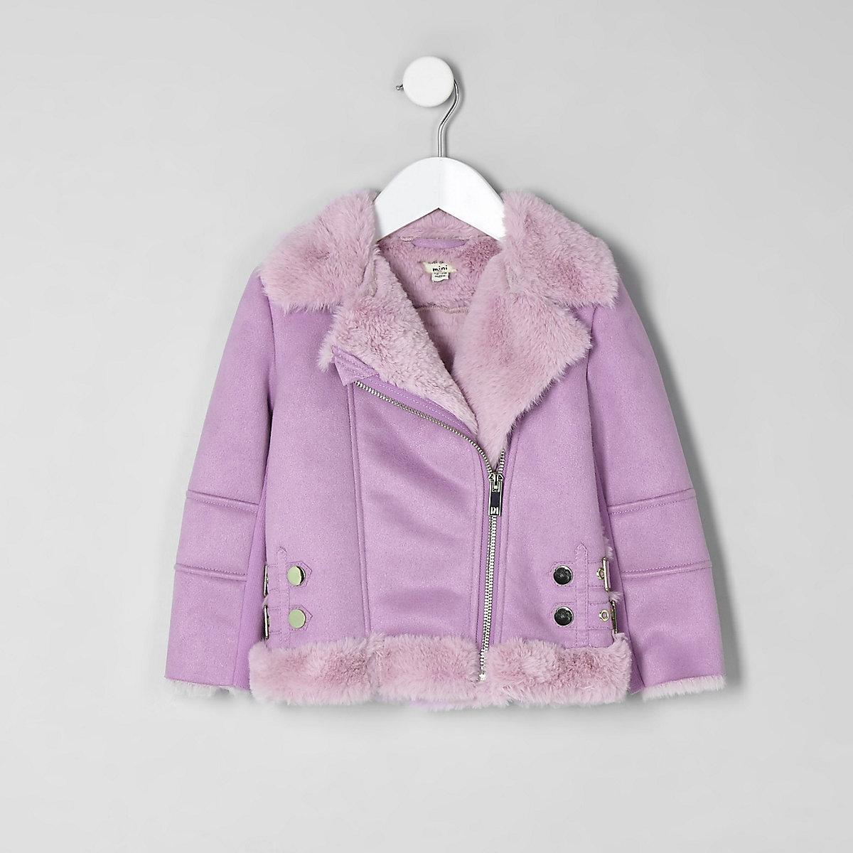 Mini girls lilac faux fur aviator jacket
