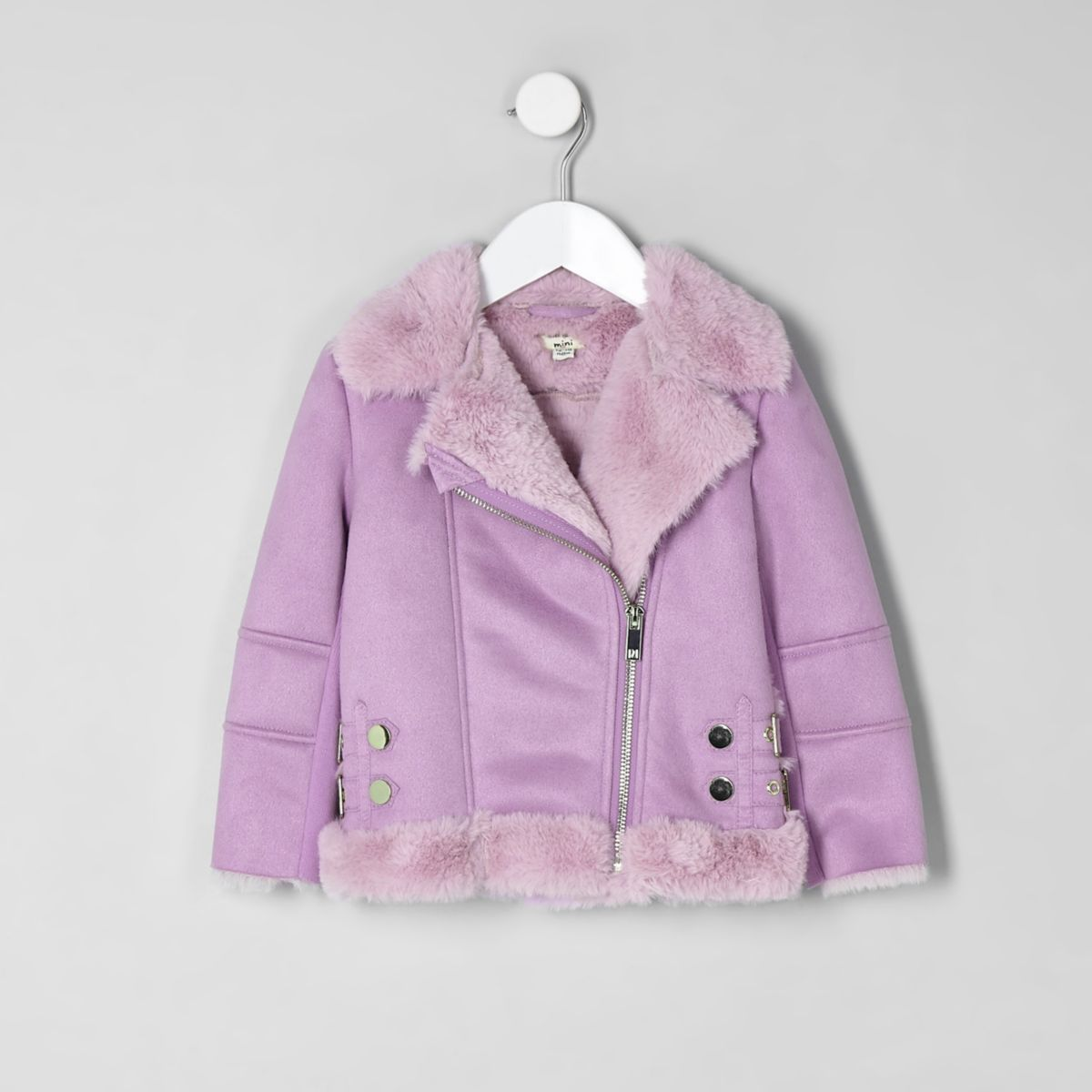 Mini girls lilac faux fur aviator jacket