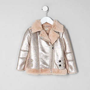Mini girls metallic faux fur aviator jacket